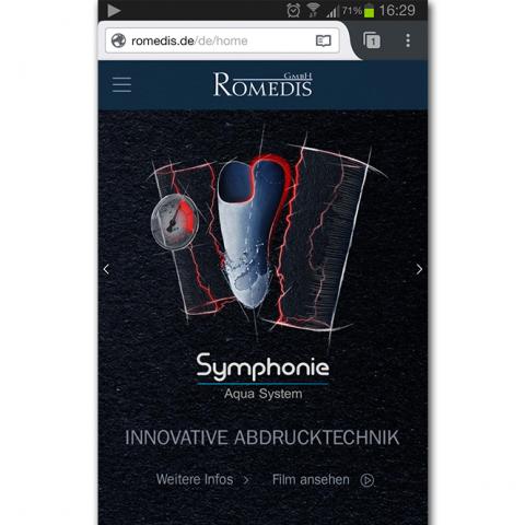 Screenshot Smartphone Romedis - Innovative Abdrucktechnik für Prothesen