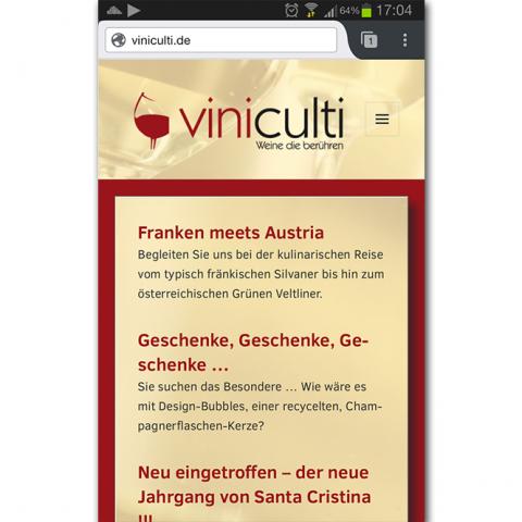 Screenshot Smartphone - Viniculti Weine die berühren